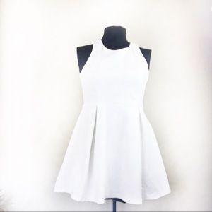 Lulu's White Skater Dress w/ Exposed Back Zipper